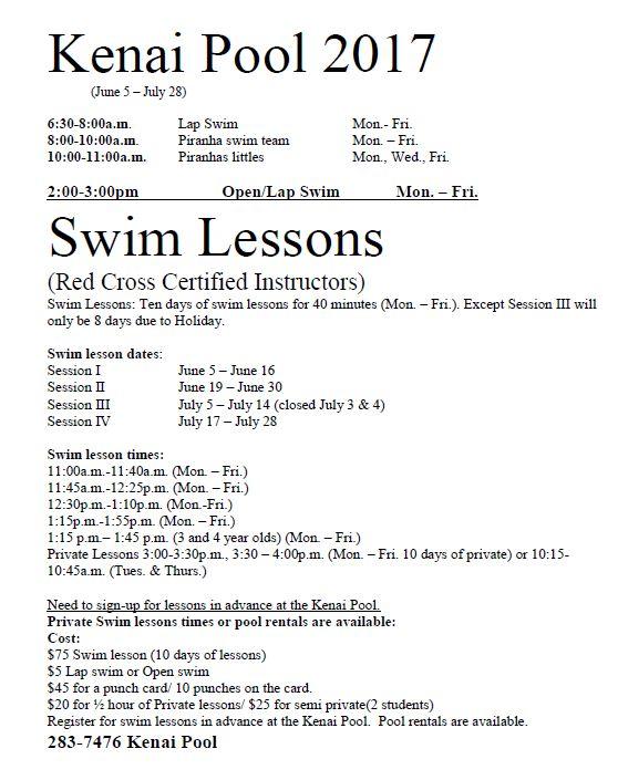 KCHS 2017 Summer Pool Schedule